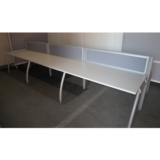Pod of 6 Straight White1600mm Desks with Grey Screens