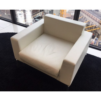 Boss Design White Leather Arm Chair