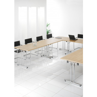 SemiCircular Chrome Fold LegsWhite Conference Tables - Semi circle conference table