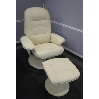 Cream Leather Executive Chair with Footstool