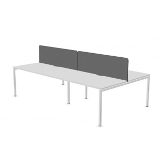Narbutas Nova Pod of 4 White 1400mm Desks with Cable Trays & Grey D/M Screens - NEW