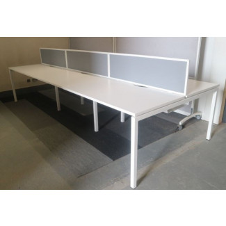 Narbutas Pod of 6 Straight White 1200mm Desks with Grey D/M Screens