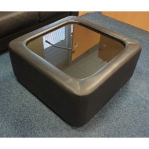 Glass/Black Leather Coffee Table