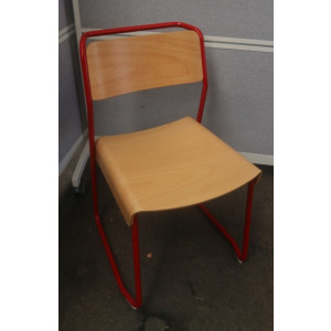 VGP Beech Canteen Utility Chair on Red Frame
