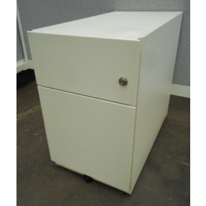 White Metal Narrow Mobile Pedestal