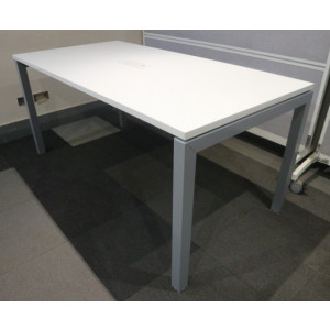 White 1600mm Team Table with Power/Data Pack