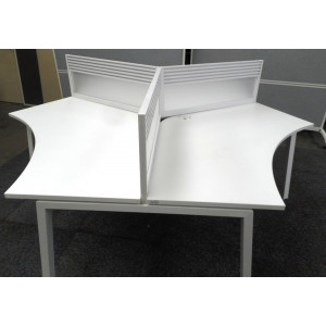 Elite Linnea Pod of 3 White Segment Desks with Tool Bar Perspex Screens