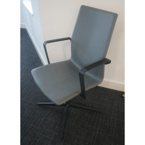 Ocee Design Grey Leather Meeting Chair