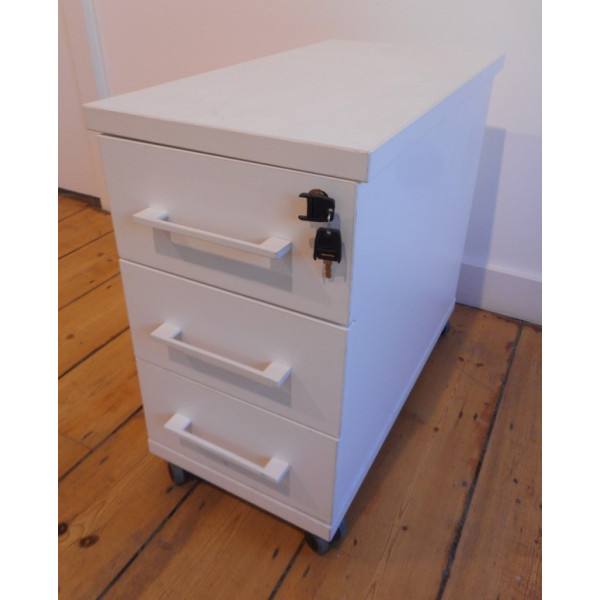 Imperial White 3 Drawer Mobile Pedestal