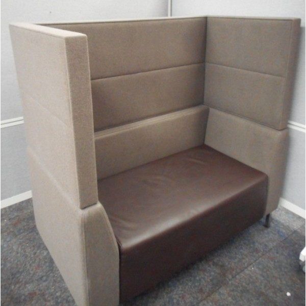Grey with Brown Leather 1320w Seating Booth