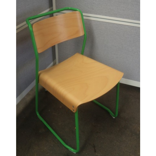 VGP Beech Canteen Utility Chair on Green Frame