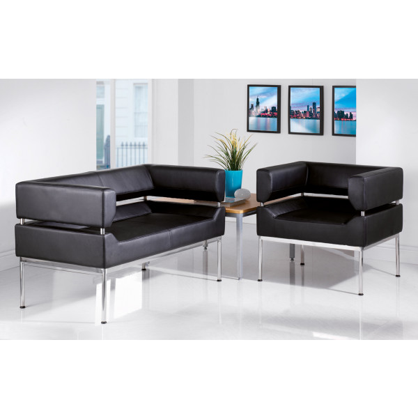 Benotto 3 seater Black Faux leather designer Sofa