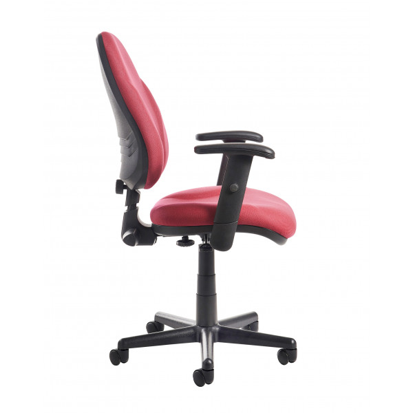 Bilbao high Back Operators chair with Lumbar and Adjustable arms - Burgundy