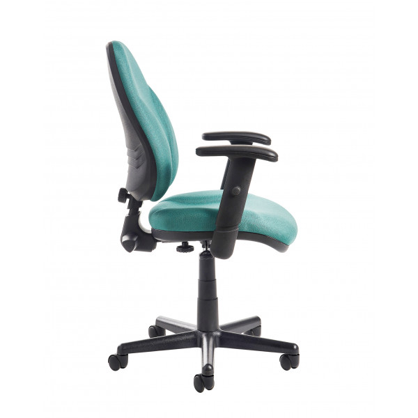 Bilbao high Back Operators chair with Lumbar and Adjustable arms - Green