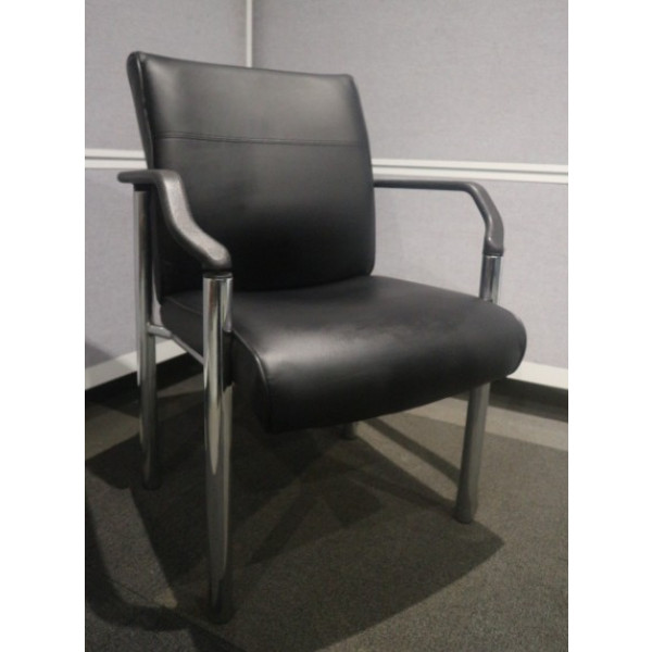 Black Faux Leather Meeting Chair