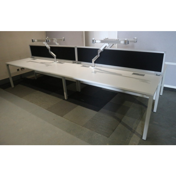 Steelcase Pod of 4 Straight White Desks with Black Screens, Monitor Arms & Cable Tray
