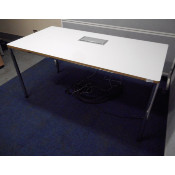 Kinnarps White 1500 Folding Leg Table with Power & Data