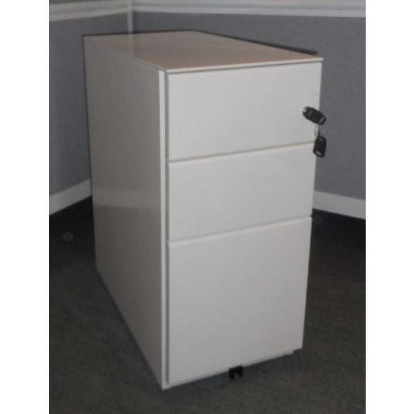 White Narrow Mobile Pedestal
