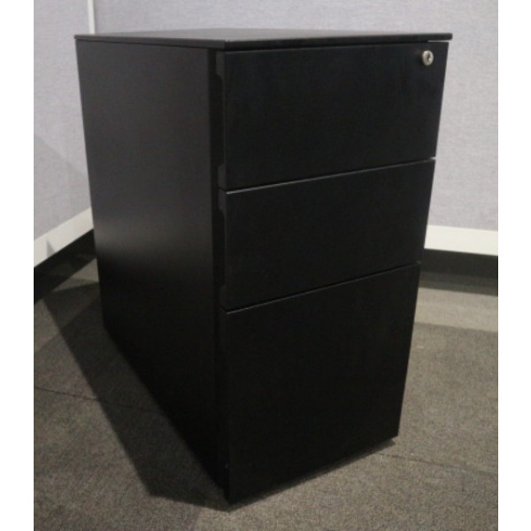 Narrow Black 3 Drawer Mobile Pedestal