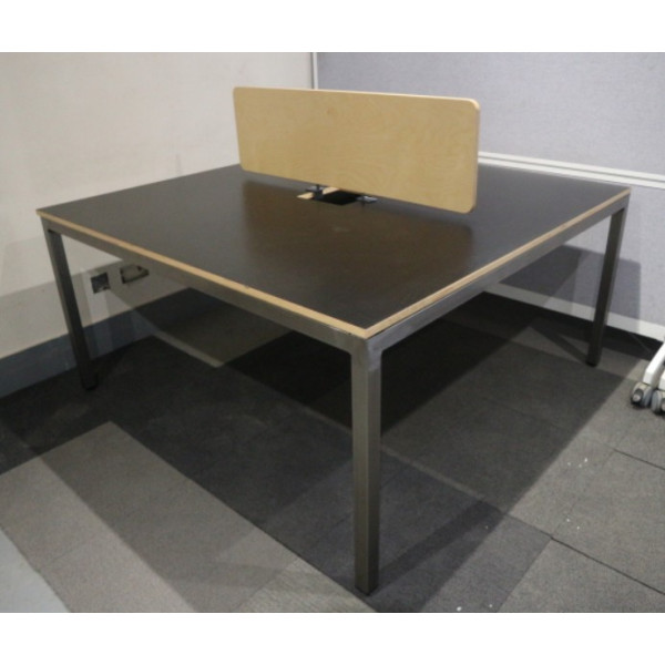 Black 1400mm Duo Desks with Ply Screen - Seats 2