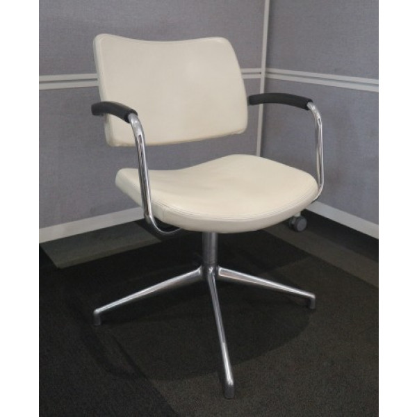 Boss Design Ivory Leather Pro Swivel Chair