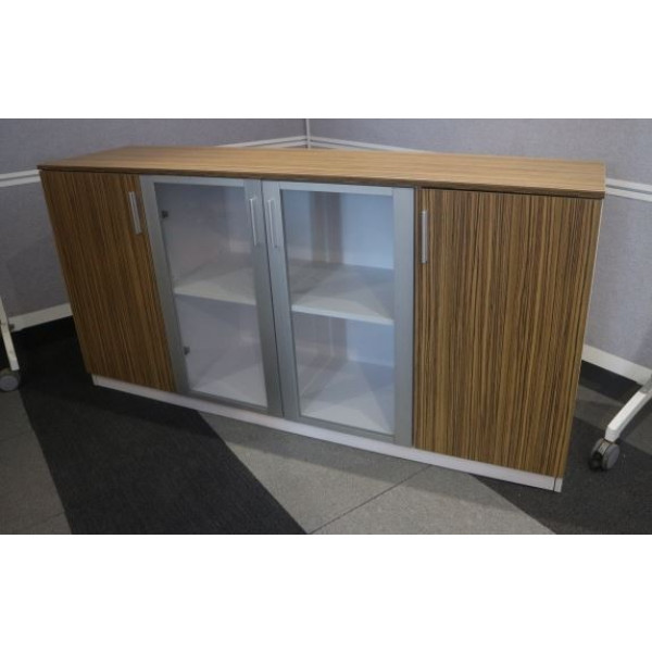 Zebrano & White Credenza 1600w - Ex Display