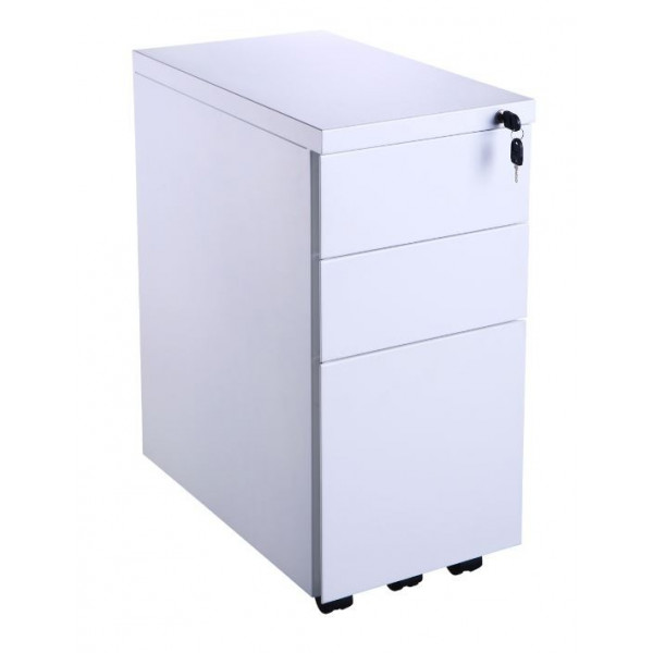 Value White Narrow Mobile Pedestal - Ex Display