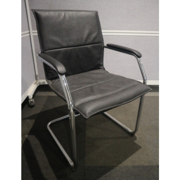 Essen Black Faux Leather Meeting Chair