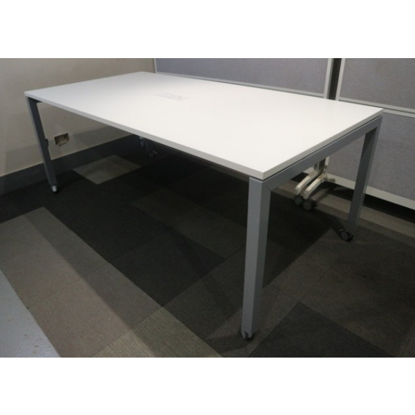 White 2000mm Team Table with Power/Data Pack