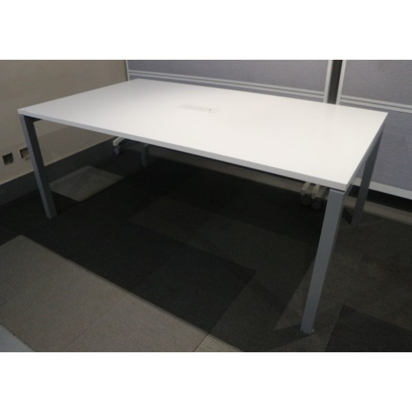 White 1800mm Team Table with Power/Data Pack