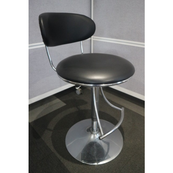 Black Faux Leather Cafe Stool