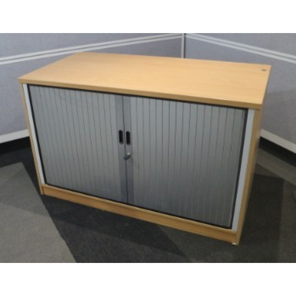 Beech Desk High Tambour Cupboard