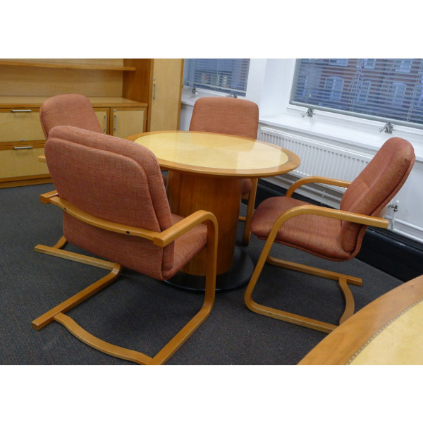 Beech Veneer Table with 4 Meeting Chairs