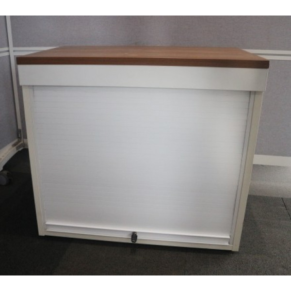 D/H White with Walnut Top Up & Over Tambour Cupboard