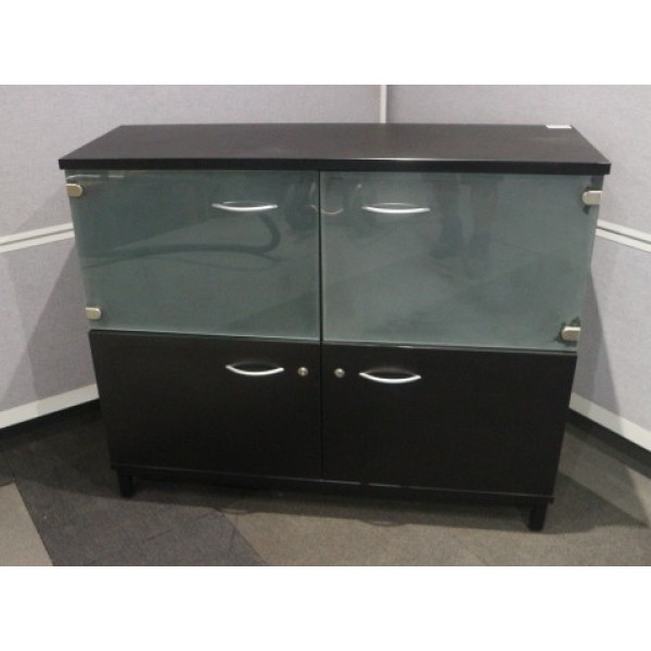 Black 1000h D/D Cupboard with Glass Doors