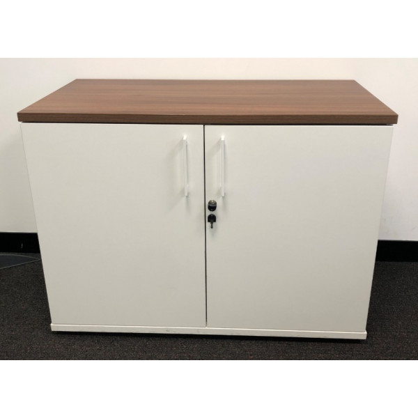 D/H White with Walnut Top D/D Cupboard