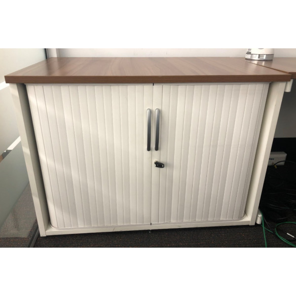 D/H White Tambour Cupboard with Walnut Top