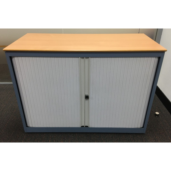 Blue D/H Tambour Cupboard with Beech Top