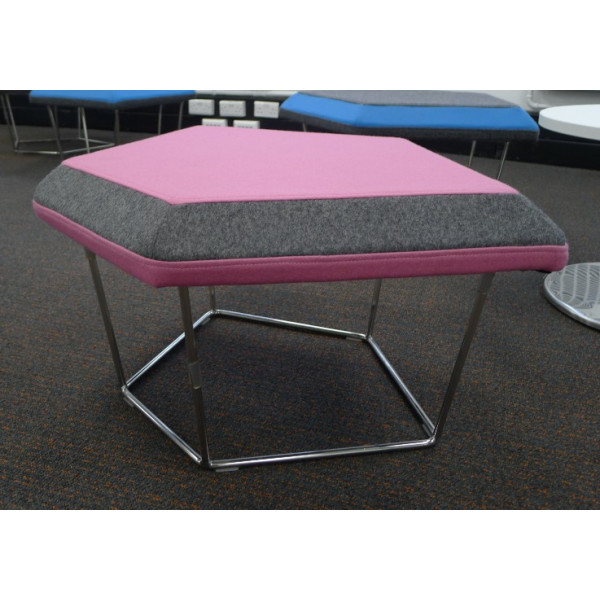 Frovi Pink Stool With Grey Edge