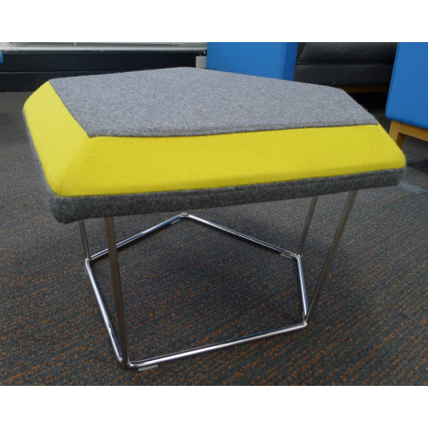 Frovi Grey Stool With Yellow Edge