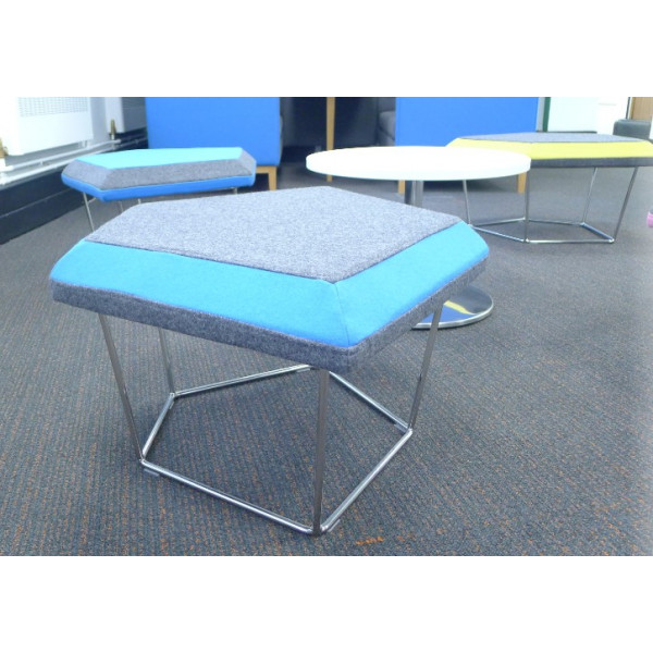 Frovi Grey Stool With Blue Edge