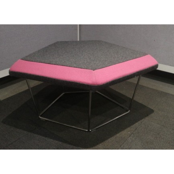 Frovi Grey Stool With Pink Edge
