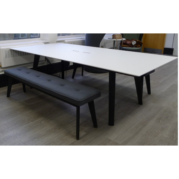 Frovi Jig Social White Table with 2 Benches Plus Power Data Access Port