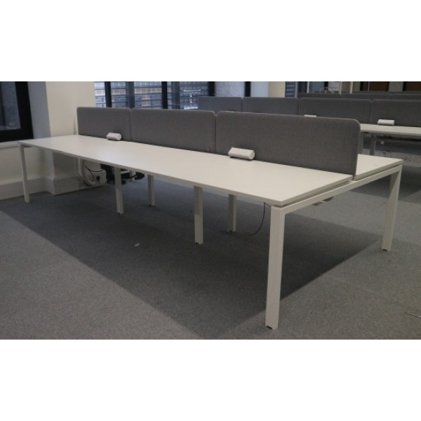 Workstories Albion White Pod of 6 1200mm Desks with Grey D/M Screens