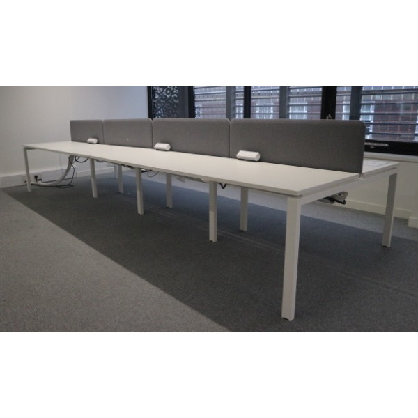 Workstories Albion White Pod of 8 1200mm Desks with Grey D/M Screens