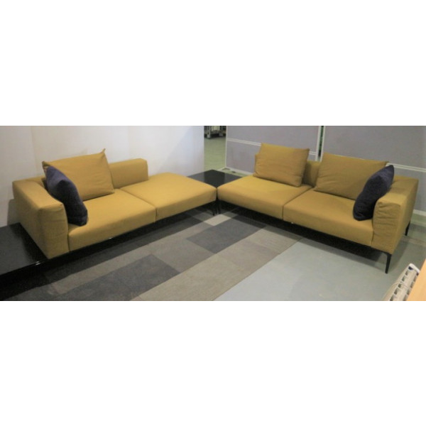 Walter Knoll Jaan Living L Shape Sofa with Glass Tables