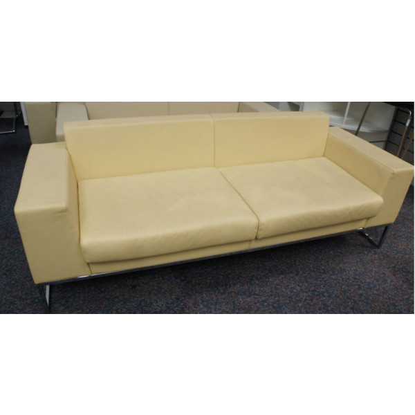 Boss Cream Leather 3 Seater Sofa