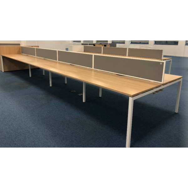 Narbutas Pod of 8 1600mm Straight Oak Desks with Grey D/M Screens