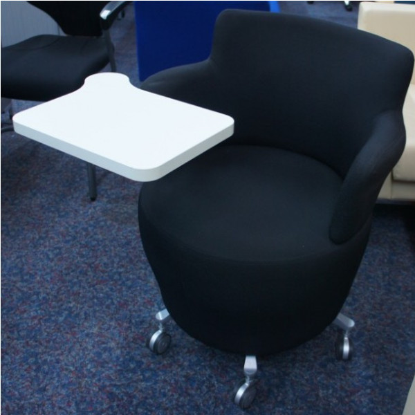 Orangebox Black Side Chair with Tablet on Castors