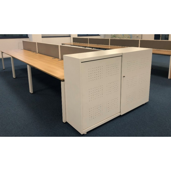 White Metal Desk End Sliding Door Cupboard